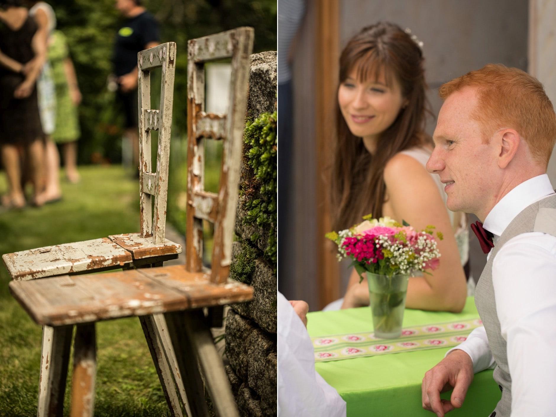 Braut und Antike Stühle