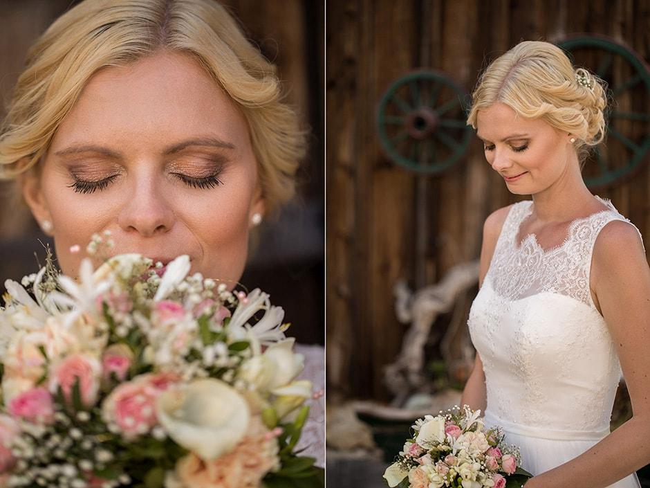 Hochzeitskleid und Brautstrauß