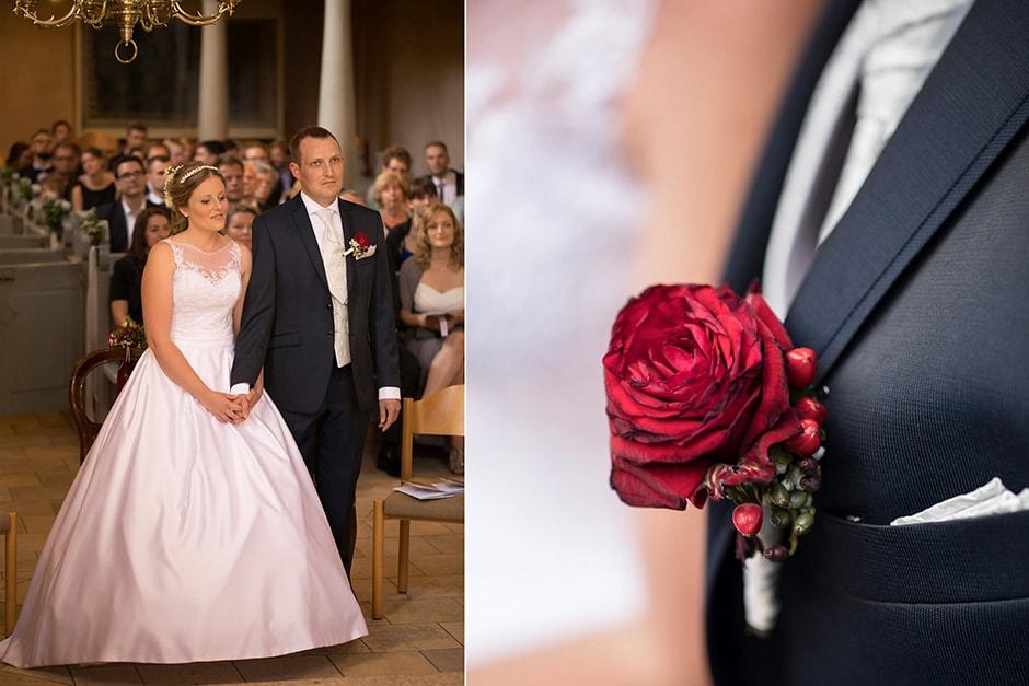 Bräutigam Ansteckblume und Trauung in Kirche