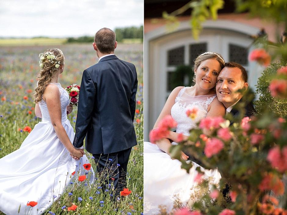 Brautpaar auf Wiese mit Mohnblumen in Fürth