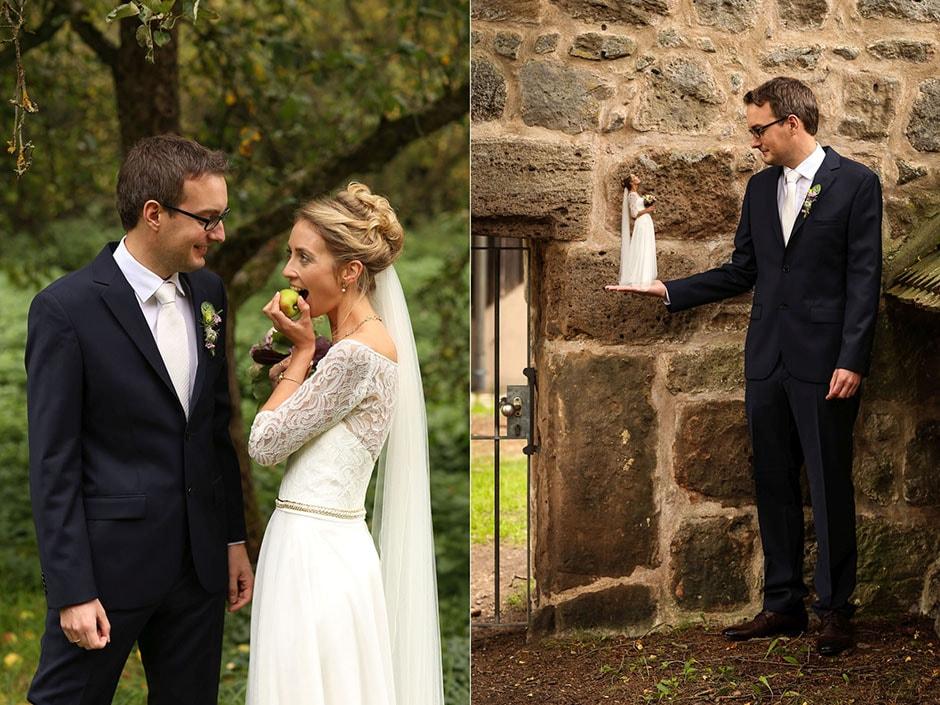 Fotomontage Braut verkleinert und Bräutigam groß
