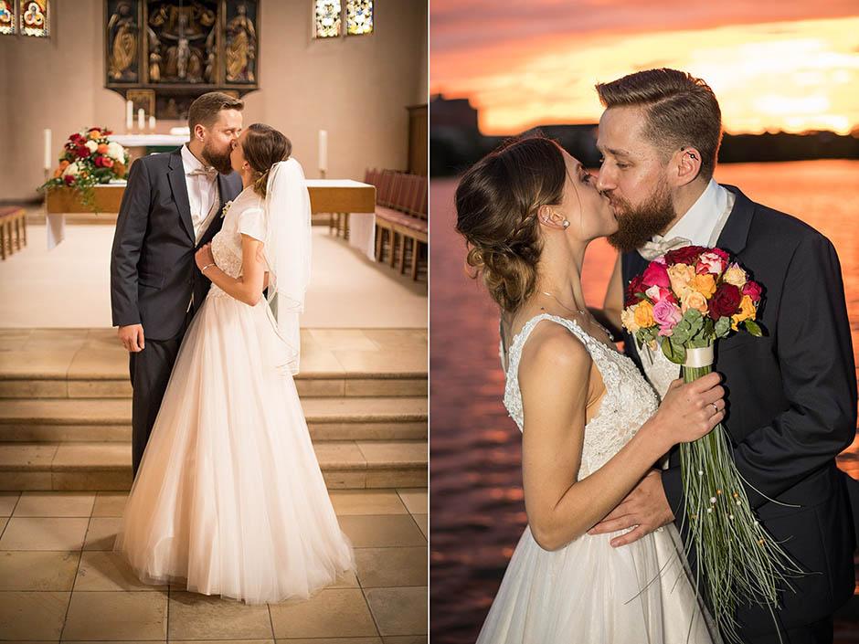 Küssendes Brautpaar bei Sonnenuntergang am Nürnberger Dutzendteich