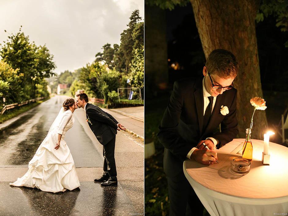 Hochzeitsfotos bei Regen (links) und Brief an die Braut (rechts)