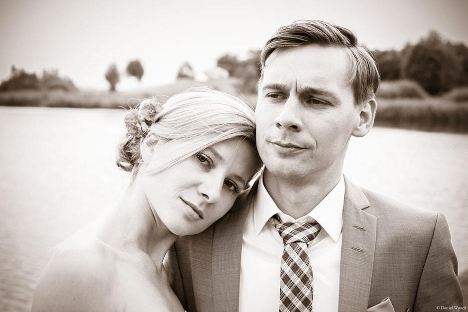 Romantische Fotoaufnahme mit Brautpaar