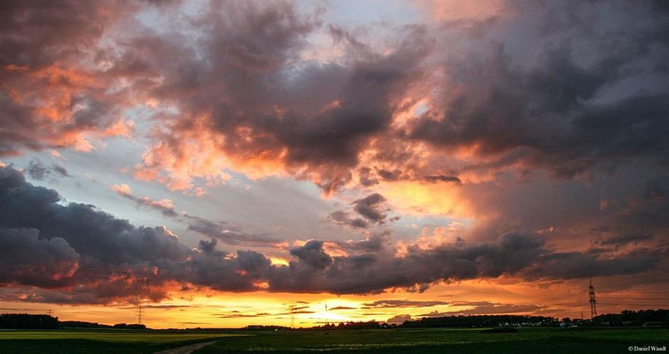 Sonnenuntergang Wolken Franken