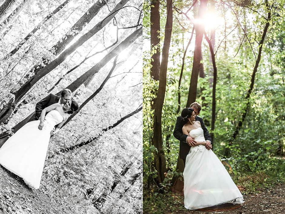 Portraitshooting mit Brautpaar im Wald