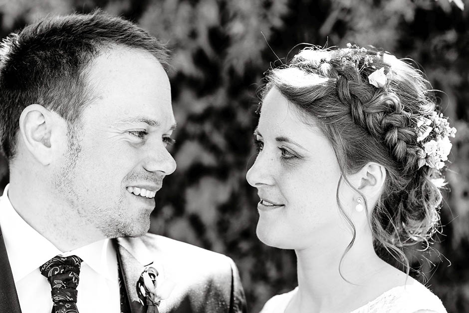 Brautpaar-Portrait Schwarz-Weiß