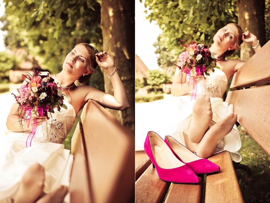 Braut ohne Brautschuhe
