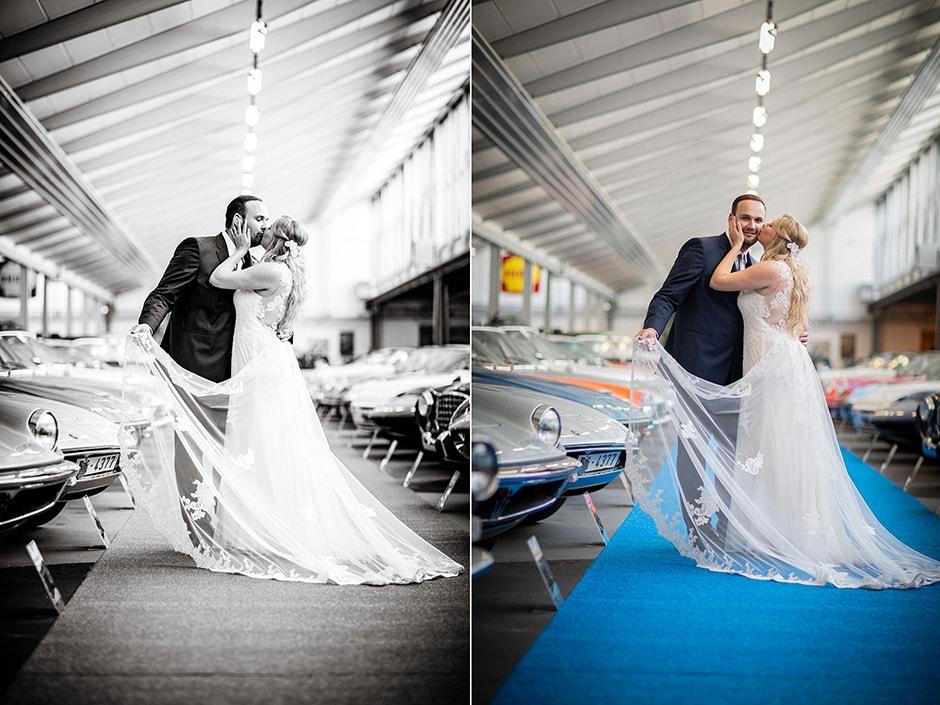 Schwarzweiss-oder-Farbe-Hochzeitsfoto