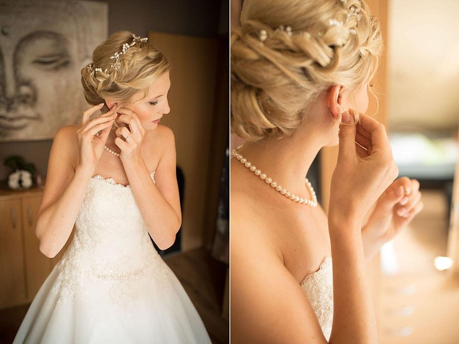 Braut zieht sich an